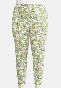 Plus Size Cropped Palms And Flamingos Leggings