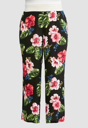 Plus Size Tropical Crochet Waist Palazzo Pants