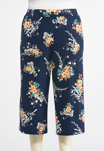 Plus Size Floral Fields Cropped Palazzo Pants