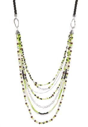 Multi Row Lime Bead Necklace | Tuggl