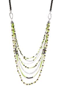 Multi Row Lime Bead Necklace