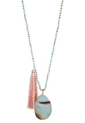 Blush Tassel Stone Necklace | Tuggl