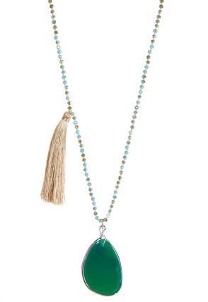 Beige Tassel Stone Necklace | Tuggl