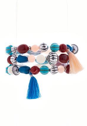 Shades Of Blue Tasseled Stretch Bracelet | Tuggl