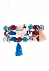 Shades Of Blue Tasseled Stretch Bracelet