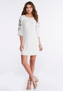 Plus Size Embroidered Sleeve Shift Dress