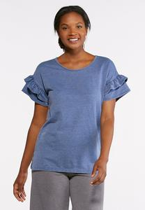 Burnout Ruffled Sleeve Top