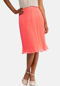 Pleated Citrus Midi Skirt