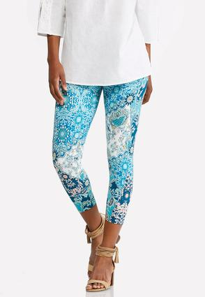 Cropped Whimsical Floral Leggings