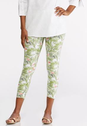 Cropped Palms And Flamingos Leggings