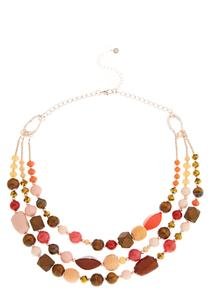 Triple Layered Mixed Bead Necklace