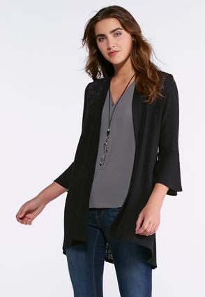 Ribbed Bell Sleeve Cardigan
