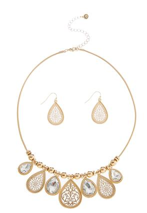 Dangling Mixed Tear Shaped Necklace Set at Cato in Brooklyn, NY | Tuggl