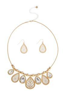 Dangling Mixed Tear Shaped Necklace Set
