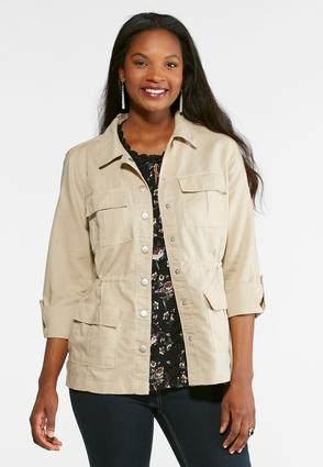 Natural Linen Utility Jacket at Cato in Brooklyn, NY | Tuggl