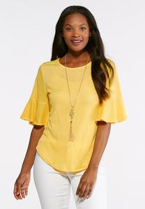 Plus Size Textured Flutter Sleeve Top