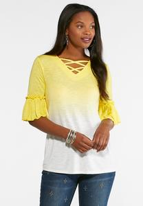 Plus Size Lattice Dip Dye Top