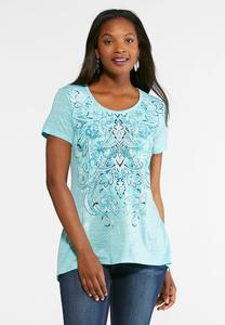Plus Size Embellished Floral Swirl Tee
