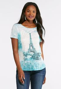 Eiffel Tower Embellished Burnout Tee