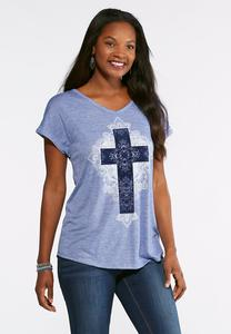 Plus Size Flocked Cross Tee