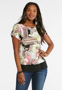 Plus Size Paisley And Lace Trim Top