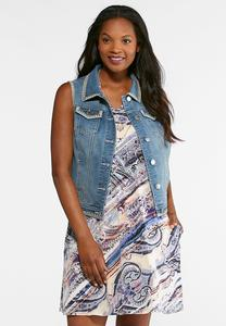 Plus Size Whip Stitch Denim Vest