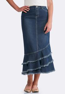 Plus Size Frayed Denim Maxi Skirt