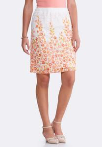 Citrus Floral Lace Skirt-Plus