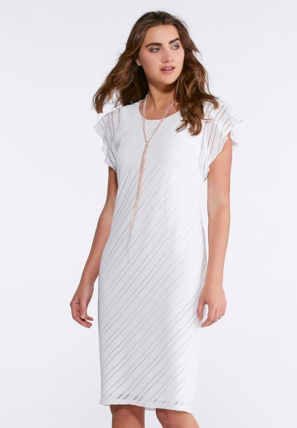White Sheath Dress with Sleeves