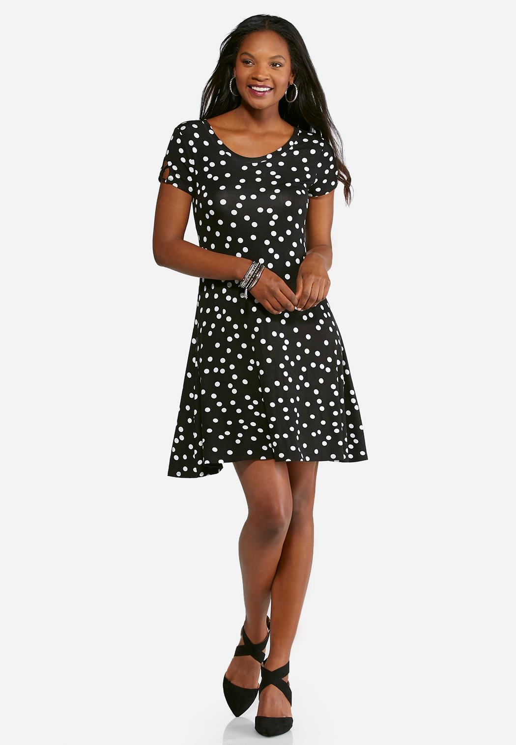 Plus Size Polka Dot Swing Dress Plus Sizes Cato Fashions