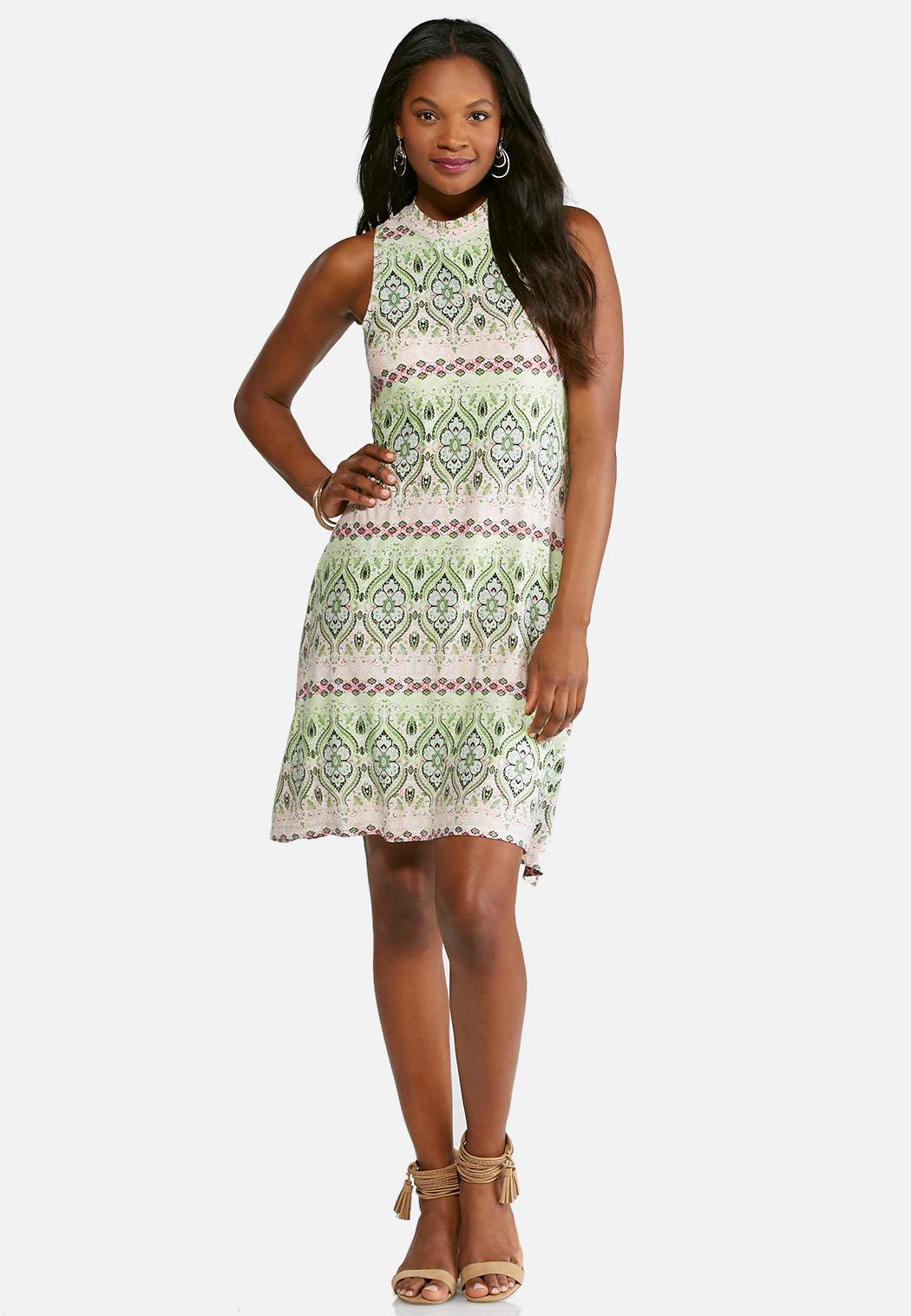 Plus Size Lime And Pink Print Swing Dress Plus Sizes Cato Fashions
