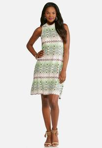 Plus Size Lime And Pink Print Swing Dress