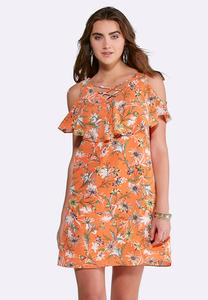 Ruffled Lattice Floral Dress