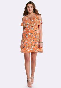Plus Size Ruffled Lattice Floral Dress
