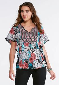 Decorative Bloom Poncho Top