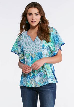 Green Medallion Poncho Top