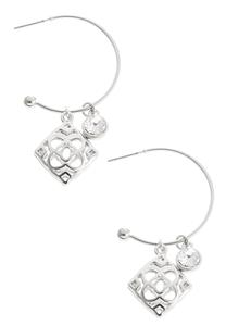 Filigree Charm Hoop Earrings