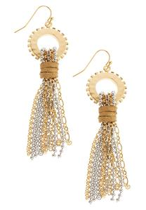 Two-Toned Chain Tassel Earrings