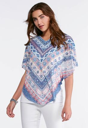 Plus Size Embellished Aztec Capelet Top