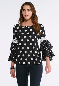 Plus Size Polka Dot Ruffle Sleeve Top