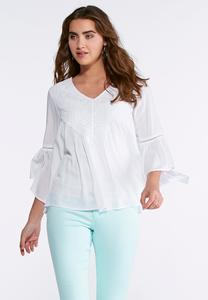 Plus Size White Embroidered Poet Top