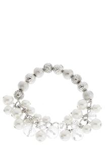 Shaky Bead And Pearl Stretch Bracelet