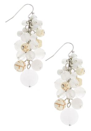 Ivory Beads In Bunches Earrings