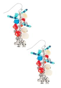Shades Of Blue Cluster Bead Earrings
