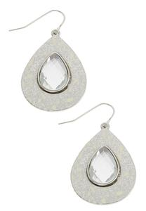 Speckled And Glass Tear Shaped Earrings