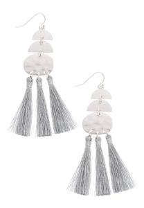 Triple Silver Tassel Earrings