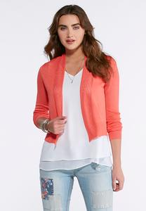 Pointelle Cropped Cardigan Sweater-Plus