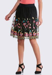 Floral Embroidered Mesh Skirt-Plus
