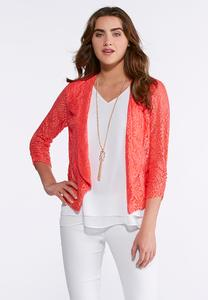 Allover Lace Knit Jacket- Plus