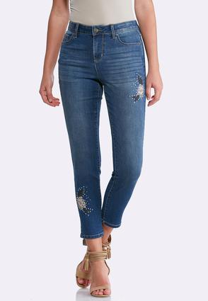 Floral Embellished Ankle Jeans at Cato in Brooklyn, NY | Tuggl